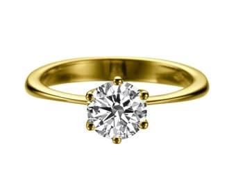 1.50ct White Sapphire Engagement Ring Yellow Gold 14K 6 prongs Round