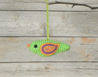 Spring Green Crocheted Bird With Embroidered Wings