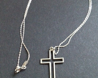 Vintage Sterling Silver Cross Necklace