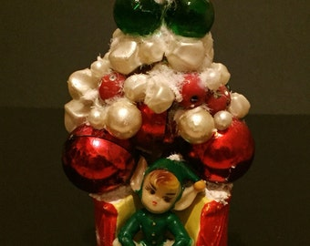 1950's Kitsch Christmas Pixie Bauble Tree Ornament, Vintage Handcrafted Decoration