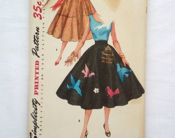 Vintage Simplicity 4884 skirt pattern waist size 25 sewing pattern circle skirt 1950s