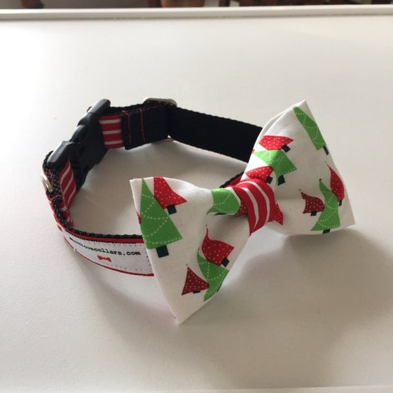Fabulous White Christmas Tree Bow Tie Dog Collar Available In