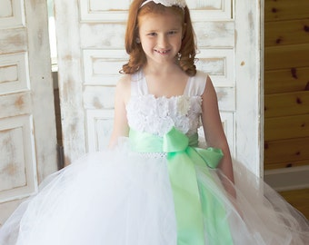 Flower girl dress - Tulle flower girl dress - White Dress - Tulle dress-Infant/Toddler - Pageant dress - Princess dress - Mint flower dress