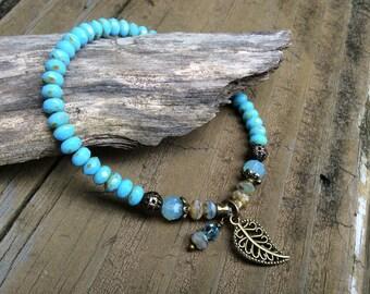 Sky Blue Czech Beaded Bracelet, Baby Blue Boho Blue Bracelet, Blue Beaded Stretch Bracelet Leaf Charm