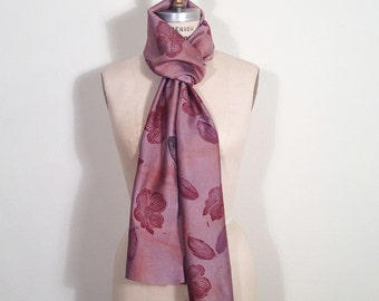 Red Dogwood Blossoms on Mauve Raw Silk Scarf