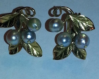 Mings 14k gold blue pearls with gold filled back earrings