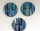 Set of 3 buttons blue button handmade polymer clay buttons  buttons for knitting buttons for crochet buttons  blue striped buttons