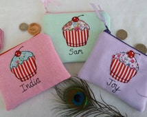 Handmade Personalised Girls Ladies Purse Wallet Pouch, Choice of fabric and embroidered name, Cupcake applique, floral lining