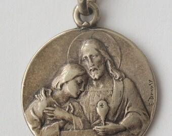 Antique Religious Medal Jesus & Child