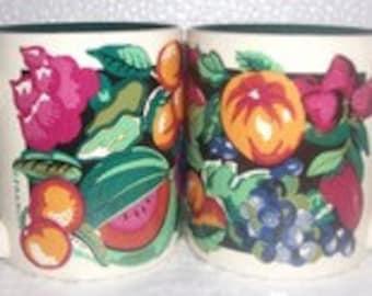 K. I. C. Handpainted Fruit Designed Ceramic (2) Mugs by Franco