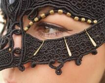 INTO THE MYSTIC Mask, *ooak *Unique Design *Burning Man Costume *Gypsy Fantasy  Bohemian Style *Labradorite  *Gemstone *Macrame *Headpiece