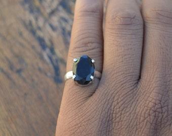 Black Onyx Gemstone Ring, 925 Sterling Silver, Prong Set Ring, December Birthstone Gift Ring, Ring Size 6 ,Oval Faceted Gemstone Ring, SLA6