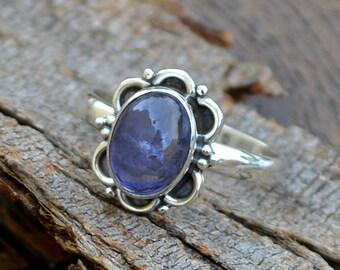Natural Iolite Gemstone Ring -Bezel Set Designer Ring -Birthday Gift -Iolite Cabochon Ring-925 Sterling Silver Ring- Yellow Gold Iolite Ring