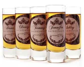 Bridesmaid Gift // 6 Personalized Shot Glasses for your Bridesmaid or Maid of Honor