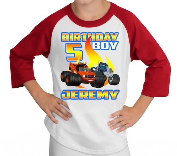 Blaze Monster Truck Raglan Shirt  ~ Truck Birthday Shirt PERSONALIZED ~ Custom