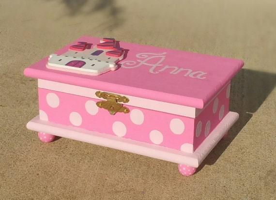 castle jewelry box personalized kids jewelry box pink wood box