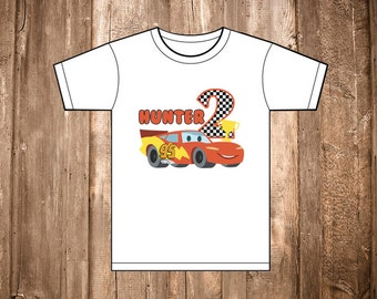 Lightning McQueen Cars Shirt Transfer Custom Logo Kid Name Age Shirt First Birthday Shirt