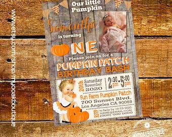 Pumpkin Patch invitation pumpkin birthday bash invite fall wood vintage baby photo invite digital printable invitation 14312