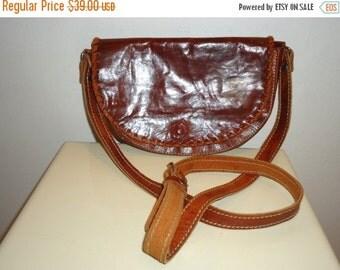 ON SALE Beautiful Vintage Cognac Leather Shoulder Bag