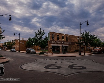 Standin' on the corner in Winslow Arizona,Route 66,Winslow Arizona,Take it Easy,Fine Art Photography USA,The Eagles Band,color,intersection