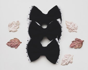 Black felt polka halloween bow