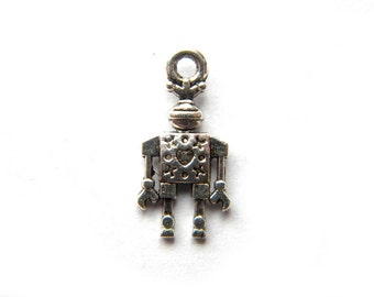 10 Silver Robot Charms