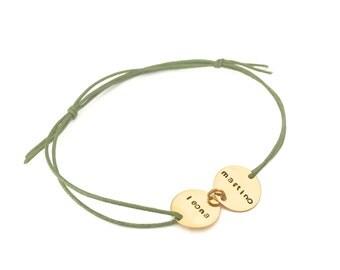 fine bracelet name cotton Ribbon color choice, 2 gold-plated pendant