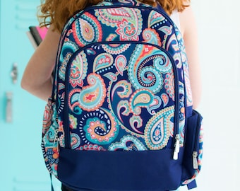 Monogrammed Backpack-Personalized Backpack-Paisley Backpack-Emerson Paisley Book Bag-Paisley-Paisley Backpack-Girl's Backpack-Back To School