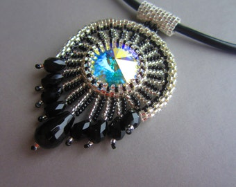 Egyptian OOAK Beadwoven Swarovski Crystal Rivoli Necklace Statement Jewelry