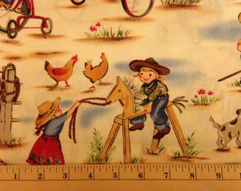 LIL COWGIRL Fabric - Michael Miller Fabrics - Cowgirls - Western - Wild West - Nursery - Horses - Quilting - Sewing - Stick Horse - Tricycle