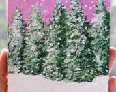 Original Snowy Tree and Pink Sky Landscape Acrylic Painting