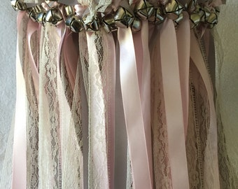 50 Wedding Wands/Wedding Ribbon Wands/Wedding Wand/Wedding Streamers/Silver, light pink and Natural Lace