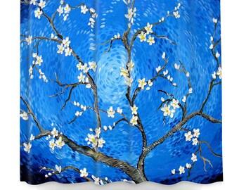 blue shower curtain | etsy