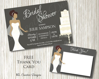 Modern Grey Bridal Shower Invitation, Printable, Free Thank You Card, Digital File