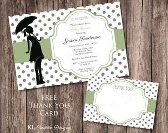 Neutral Gray Dots Green Baby Shower Invite, Printable Invitation, Digital, Free Thank You Card