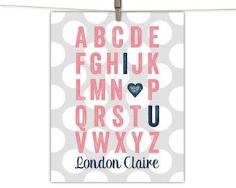 Coral and navy nursery print, alphabet nursery art, polkadot nursery decor, baby girl personalized gifts, baby shower gift ideas