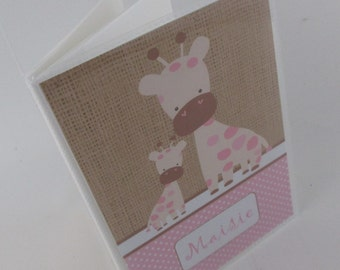 Baby girl photo album Printed Burlap giraffe 4x6 or 5x7 pictures newborn present Personalized with name baby shower gift 490