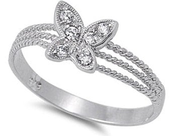 925 Sterling Silver CZ Butterfly Ring
