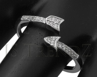 NEW 925 Sterling Silver CZ Arrow Ring