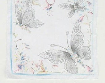 Vintage Unusual White with Butterflies Handkerchief (Inventory #M2245)