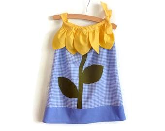 Girls sunflower dress - girls flower dress - 3 year old girls dress - girls summer clothes - girls dress - birthday dress - flower dress