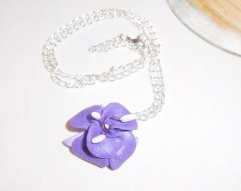 Necklace iris purple polymer paste on handmade silver metal chain