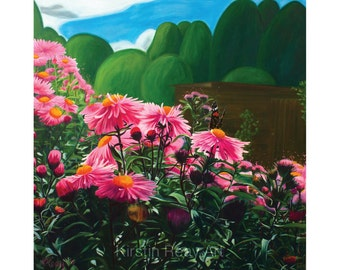 "Giclee Print 16x16"", Michaelmas Daisies"