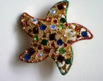 Multi Colored Rhinestone Starfish Pin - 4429