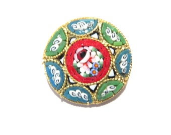 Vintage Italian Mosaic Floral Brooch Signed Italy