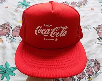 Vintage 80's Enjoy Coca Cola Trucker Hat, Adult Size classic logo soda soft drink Dead Stock