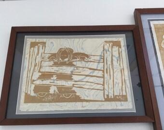 Vintage Lithograph Art