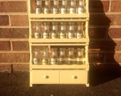Refurbished Vintage yellow spice rack, 1970s spice rack, wooden spice rack, spice jars, cottage spice rack