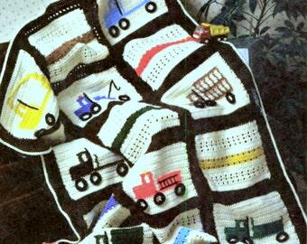 Vintage Crochet Pattern Truck Afghan Baby Cot Blanket Bedspread Throw Fire Engine Lorry Van Boys