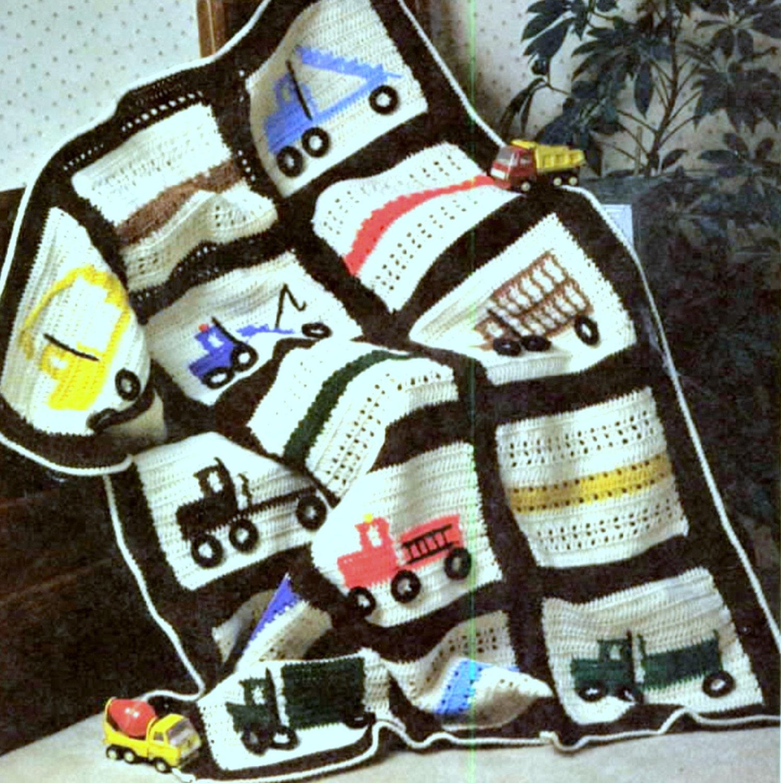 Vintage Crochet Pattern Truck Afghan Baby Cot Blanket
